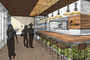 drawing showing inside of sustainable restaurant