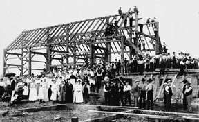 Barn raising, early 1900's