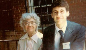 A young Mo Rocca and his grandmother photo courtesy of the Food Network/Cooking Channel