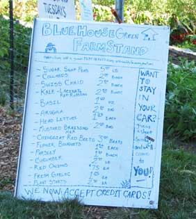 Blue House Greenhouse Farm stand Prices