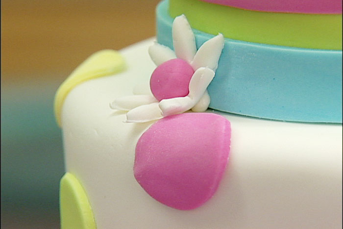 Close-up of one of Robin Hassett's a Fondant Cakes